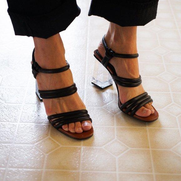 NWT Zara clear heel strappy sandals
